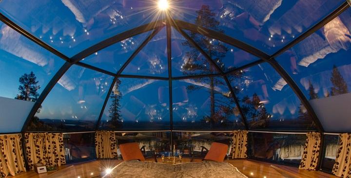 habitaciones de hotel con el techo de cristal para ver