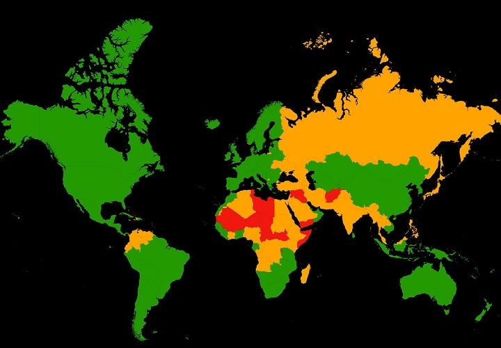 mapa paises peligrosos